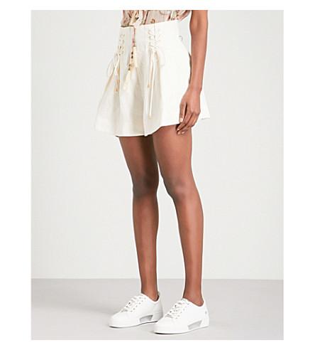 ZIMMERMANN Painted Heart wide high-rise linen shorts (Cream
