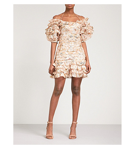 ZIMMERMANN Painted Heart Folds off-the-shoulder linen and silk-blend mini dress (Peach+tapestry+peta