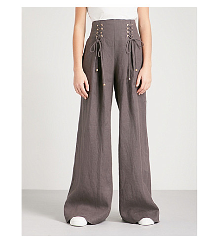 ZIMMERMANN Painted Heart wide high-rise linen trousers (Charcol+crm