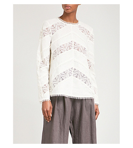 ZIMMERMANN Painted Heart Chevron lace tunic top (Cream+crm