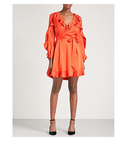 ZIMMERMANN Ruffled silk-satin mini dress (Red