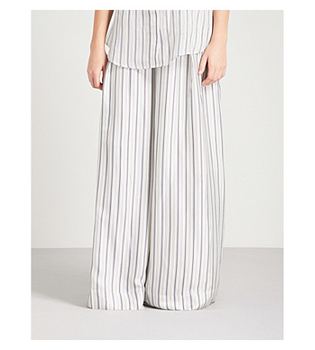 ZIMMERMANN Painted Heart wide high-rise satin-twill trousers (Blue+grey+stripe+bgst