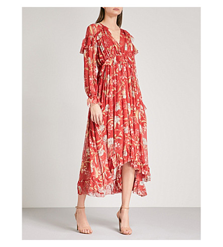 ZIMMERMANN Corsair Iris Cape georgette midi dress (Washed+iris+wiri