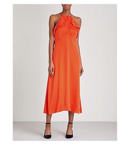 ZIMMERMANN Ruffle halterneck silk dress (Red