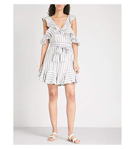 ZIMMERMANN Painted Heart Cold shoulder satin-twill mini dress (Blue+grey+stripe+bgst