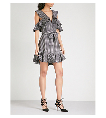 ZIMMERMANN Painted Heart Cold shoulder satin-twill mini dress (Charcoal/cream dot
