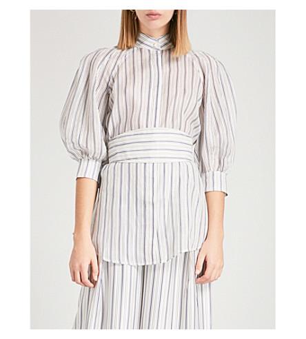 ZIMMERMANN Painted Heart linen and silk-blend top (Blue+grey+stripe+bgst