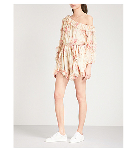 ZIMMERMANN Corsair Whimsy silk-georgette playsuit (Cream+floral+crf