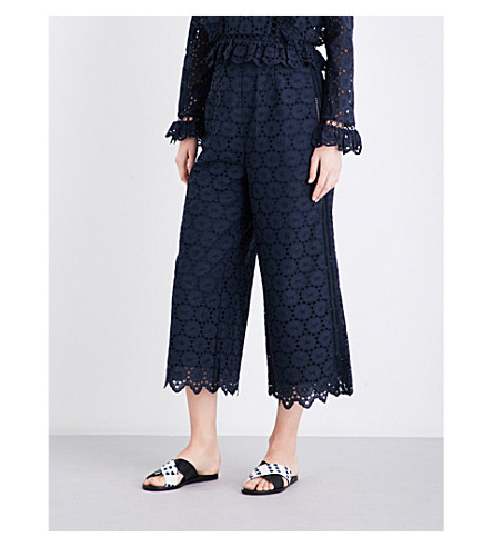 ZIMMERMANN Divinity Wheel cotton-broderie anglaise trousers (French+navy