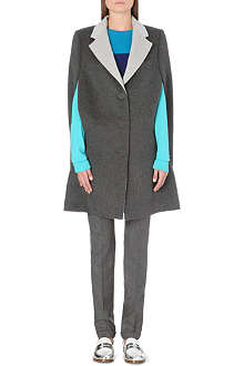 RICHARD NICOLL Contrast-lapel wool and angora-blend cape