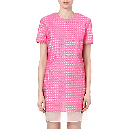 RICHARD NICOLL Houndstooth jacquard shift dress (Pink