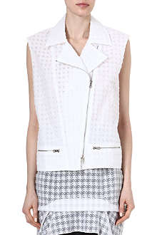 RICHARD NICOLL Houndstooth jacquard sleeveless biker jacket