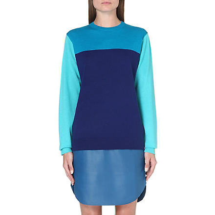 RICHARD NICOLL Colour-blocked cashmere-blend jumper (Navy/teal/blue
