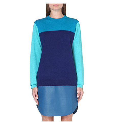 RICHARD NICOLL Colour-blocked cashmere-blend jumper (Navy/teal/blue