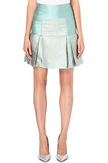 RICHARD NICOLL Box-pleat metallic-jacquard skirt