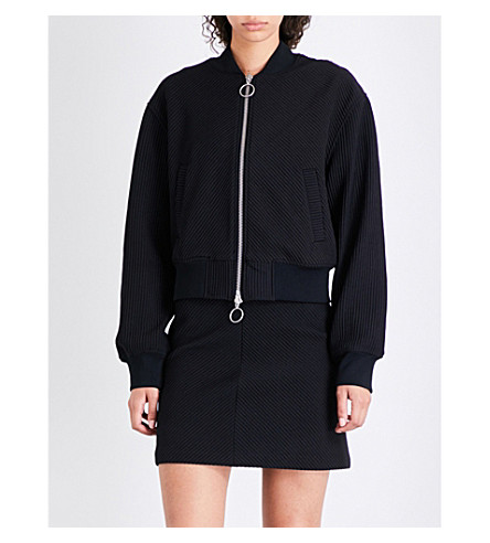 KENDALL & KYLIE Ribbed knitted bomber jacket (Black