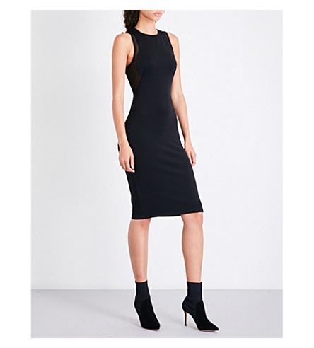 KENDALL & KYLIE Mesh-panel fitted neoprene dress (Black