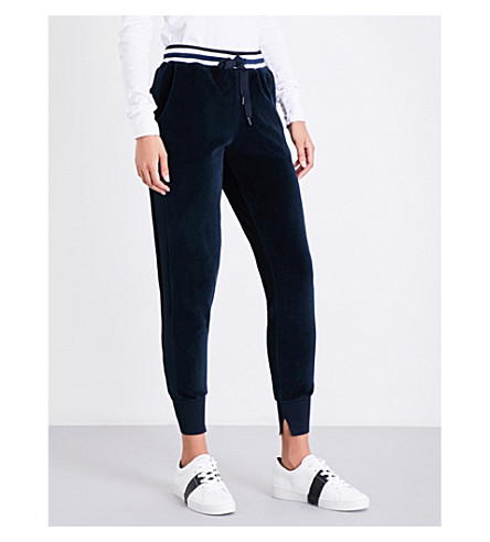 KENDALL & KYLIE Skinny mid-rise velour jogging bottoms (Tru+navy
