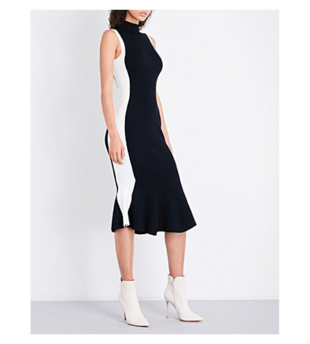 KENDALL & KYLIE Contrast-panel fitted knitted dress (Black+multi