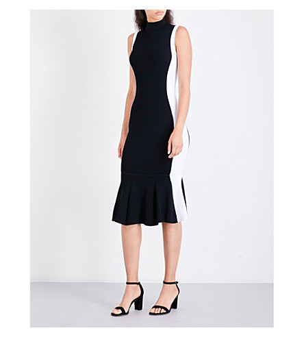 KENDALL & KYLIE Illusion peplum knitted midi dress (Black+bright+white