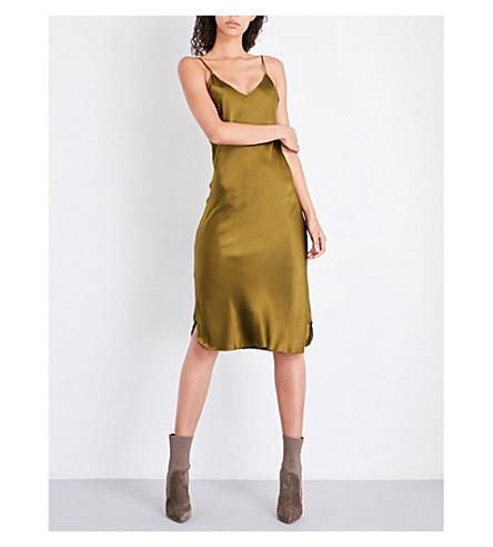 KENDALL & KYLIE V-neck silk-satin slip dress (Olive