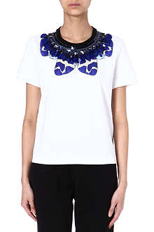 MOTHER OF PEARL Juno embellished floral t-shirt