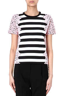MOTHER OF PEARL Juno striped floral t-shirt