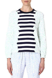 MOTHER OF PEARL Baley striped floral-print sweatshirt