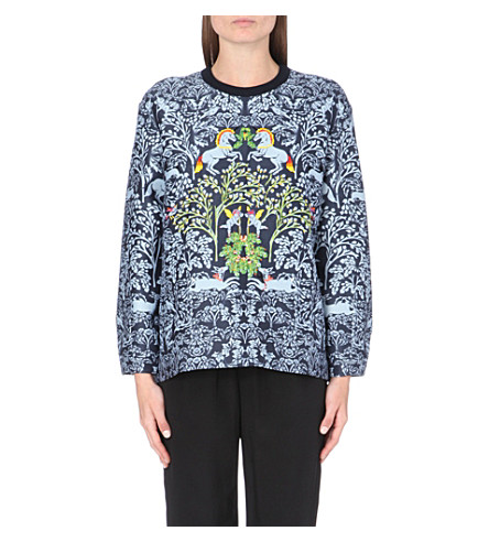 MOTHER OF PEARL Unicorn embroidered sweatshirt (Blue unicorn repeat
