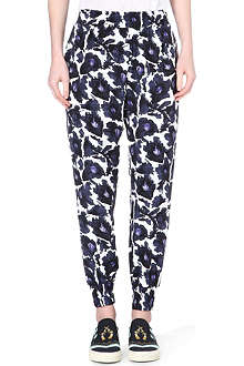 MOTHER OF PEARL Floral-print silk jogging bottoms