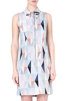MOTHER OF PEARL Embellished-collar printed silk dress