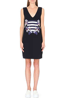 MOTHER OF PEARL Eda embroidered wool shift dress