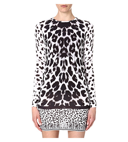 VERSUS Leopard-print jersey dress (White/black