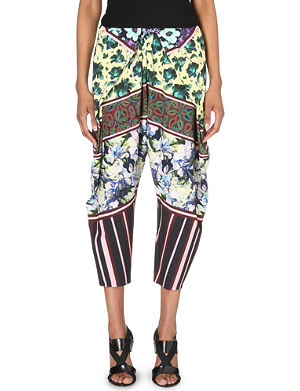 CLOVER CANYON Floral-print stretch-crepe trousers
