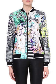 CLOVER CANYON Enchanted garden crepe bomber jacket