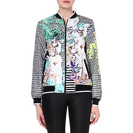 CLOVER CANYON Enchanted garden crepe bomber jacket (Multi