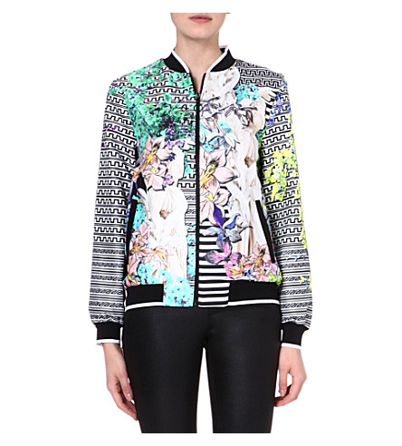 CLOVER CANYON Enchanted garden crepe bomber jacket (Multi