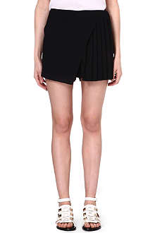 CLOVER CANYON Pleated crepe skort