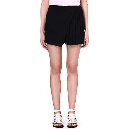 CLOVER CANYON Pleated crepe skort (Black