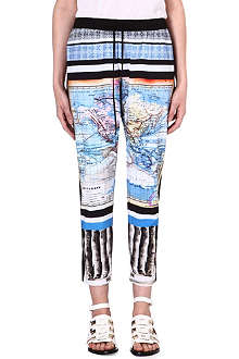 CLOVER CANYON Ancient World Map stretch-crepe trousers