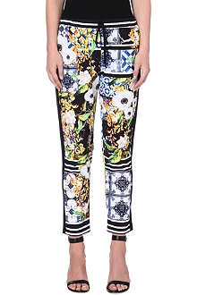 CLOVER CANYON Greek Tiles stretch-crepe trousers