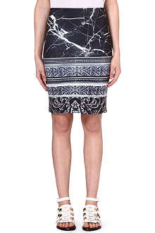CLOVER CANYON Stretch-crepe marble skirt