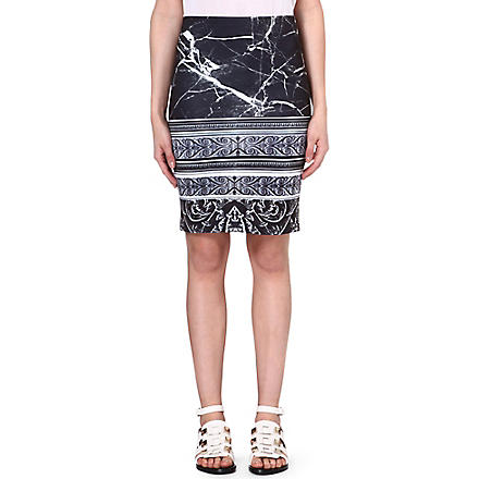 CLOVER CANYON Stretch-crepe marble skirt (Black