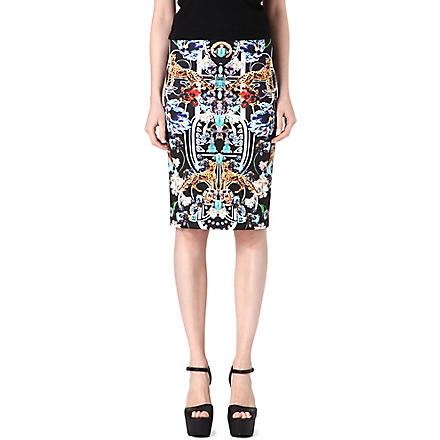 CLOVER CANYON Gold panther pencil skirt (Multi