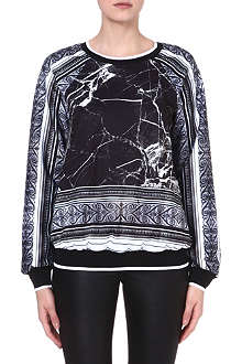 CLOVER CANYON Marble stretch-crepe sweatshirt