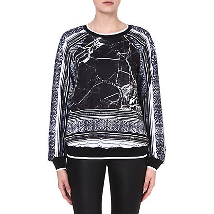 CLOVER CANYON Marble stretch-crepe sweatshirt (Black