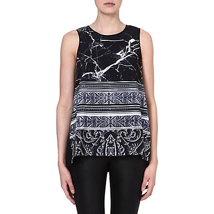 CLOVER CANYON Marble stretch-crepe top (Black