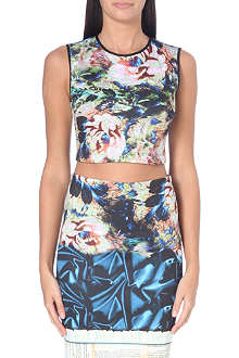 CLOVER CANYON James Joyce neoprene cropped top