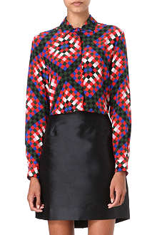 MSGM Diamond-print silk shirt