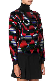 MSGM Harlequin-print turtleneck jumper